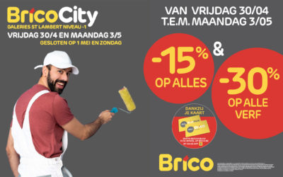 """Geniet van -15%* op alles en -30%* op alle verf met de """"Mijn Brico"""" -kaart."""